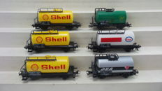 Märklin H0 4441/4442/4644/4750-6 two-axle tank carriages with different business imprints of the DB