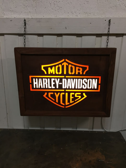 Harley Davidson lamp /lightbox  Large 60cm x 44cm x 13cm unique wooden handmade build logo made from wood / plexiglass