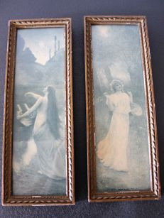 Two framed photographs (?) - signed R. Collin (Rahaël Collin?)
