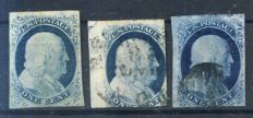 USa 1851 -  1c Franklin, Scott 9 and 2 others