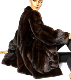High-quality mink jacket fur jacket dark espresso brown mink fur jacket