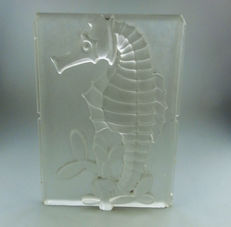 Art Deco moulded glass panel of a Seahorse - signed AH