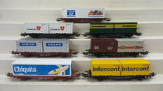 Märklin H0 - 4664/4670/4672/4673/4764/4765/4770 - 7x container cars Lgjs of the DB and SJ
