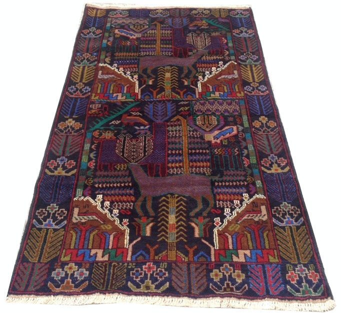 Semi Antique Afghan Pictorial Hand Knotted Balouch Herati Area Rug 201 cm x 104 cm