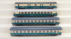"Fleischmann H0 - 5189/5194/5199 - 4 Post-/Express train passenger carriages ""IC Senator"" 2nd class of the DB"