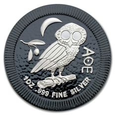 New Zealand - 2 Dollar Niue - Owl of Athens / Athenian Owl, 2017 - 999 fine silver