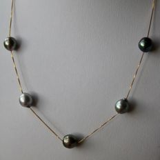 14 kt gold necklace with very lustrous Tahiti pearls, 8-9 mm, grey, dark grey and grey-blue in colour Excellent condition
