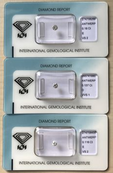 0,42 ct diamonds - 3 pces
