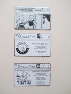 Hergé - 3x carte telephonique - La boutique de Tintin - (1980)