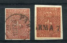 Parma 1853/1855 – 25 cent, two values in the two known colours – Sass. No.  8 and 8a.