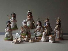 Unique hand-painted Nativity scene figures from Mexico