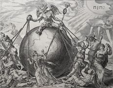 Philips Galle (1537 – March 1612) After design by Maerten van Heemskerck (1498-1574) formly published by Nicolaes Visscher I ( 1618 – 1679)  - ''Thy Kingdom Come'' A fierce winged devil straddles the globe of the world- c. 1570-1600