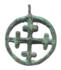 Medieval / Crusaders - open-work Religious Pendant with Cross- 32x25mm