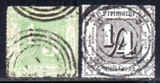 Thurn & Taxis - 1865 - 1/4 Sgr and 1/3 Sgr. with colourless cancellation, Michel 35 & 36
