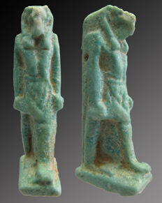 Egyptian faience amulet of Thoth - 51 mm.