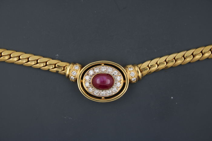 Curb necklace made of 750 yellow gold with brilliants and ruby - 0.5 ct, P1 / w - length: 40.5 cm