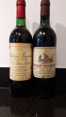 1977 Chateau Beychevelle & 1974 Chateau Branaire - Duluc Ducru, 4th growth - 2 bottles (75cl) total
