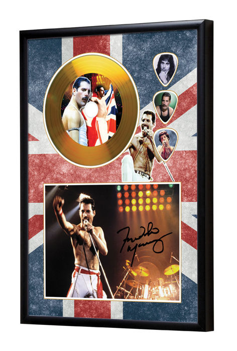 Queen Freddie Mercury Preprinted Autograph, Gold Disc & Plectrum Presentation