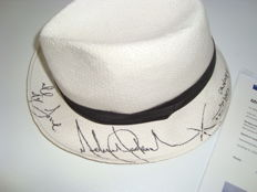 Michael Jackson - White strawhat signed by Michael Jackson dated Cannes France