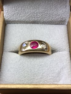 14k rose gold ring 7.34 grams with old cut diamonds and semi precious gemstone