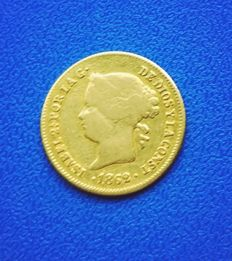 Spain - 1 gold peso Philippines 1862 Isabel II - rare date, scarce.