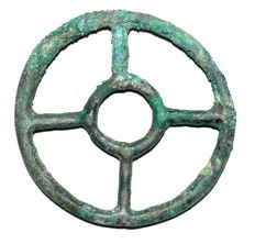 "Ancient Roman bronze open work pendant shaped as wheel - ""the Wheel of Fortune"" - 58 mm"