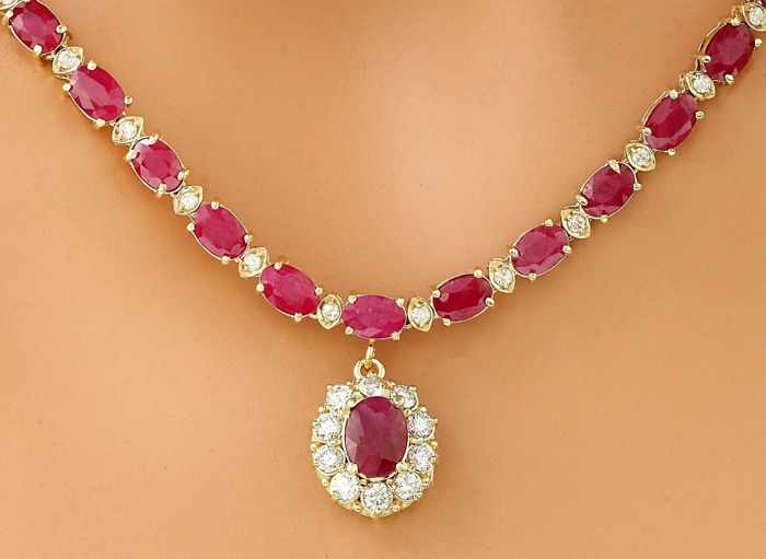 46.08 Carat Ruby 14K Solid Yellow Gold Diamond Necklace - Item Length: 17 Inches (43.2 cm) ***Free Shipping***  No Reserve ***