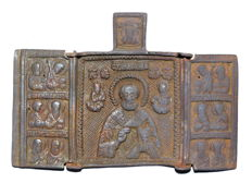 Late Medieval Bronze 3 Panel Icon depicting St Nicholas - 67x99 mm
