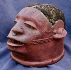 Helmet mask, wood, pigments and human hair - MAKONDE - Tanzania
