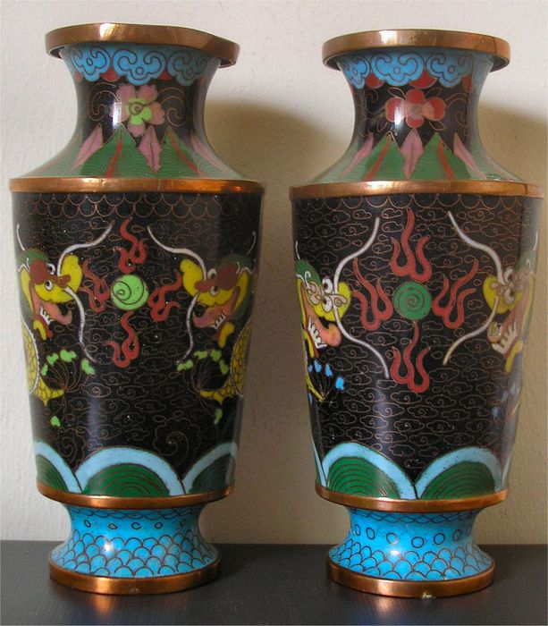 Pair Of Antique Chinese Cloisonne Enamel On Copper Imperial Dragon