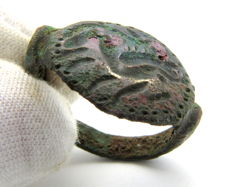 Ancient Persian / Greek Bronze Ring with Beast on Bezel - 20 mm (inner diam.)