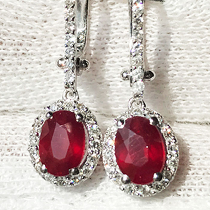2.59ct Ruby and Diamond Earrings made of 18 kt white gold