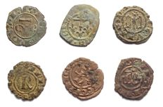Italian Mints - Lot of 6 Swabian and Aragonese coins from the 12th Century. Interesting types