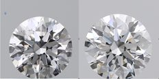 Pair of  Round Brilliant  Diamond  1.14ct Total , D  IF,   Cert: GIA #TW2208-TW1908