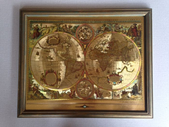 Map of the world gold foil world map framed catawiki map of the world gold foil world map framed gumiabroncs