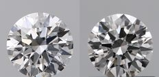 Pair of  Round Brilliant  Diamond  1.05ct Total , D  IF, 3EX  Cert: GIA #TW1508-TW1608