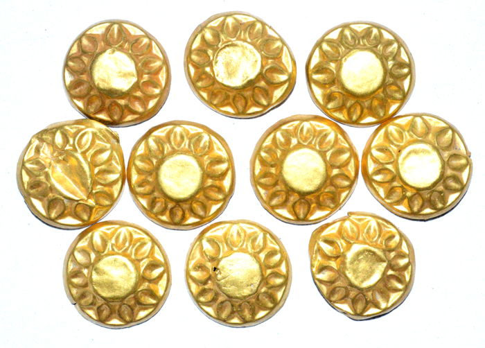 Set of 10 Viking Gold Belt Fittings with Sun Symbols- (10)