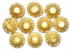 Set of 10 Viking Gold Sun Symbol Mounts (Historical Gift) - (10)