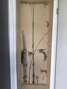 Hand painted scroll by Terazaki Kogyo (1866-1919) - bamboo - Japan - early 20th century