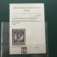 German Empire/Reich 1934 – Lüderitz 3 Pfg in dark red, light brown colour with photo certificate – Michel 540yb