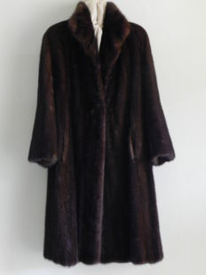 Long natural mink fur coat