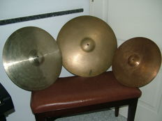 Drum cymbals from the 60s/70s - large cymbal branded Paiste 602 - medium cymbal branded Super Switzerland - the smaller is a Paiste 202 15/16