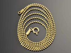 18k Gold Necklace. Chain • Bead • 50 cm. No reserve price.
