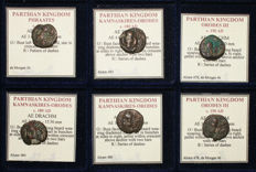 Greek Antiquity - Lot of 6 Greek Parthian Coins - Phraates, Orodes, KAMNASKIRES - All Classified