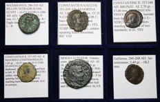 Lot of 6 Roman Coins - Maximianus, Constantius Gallus, Constantine II, Constatius II, Philip I, Gallienus - All Classified