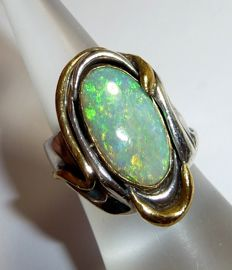 Solid ring in 925 silver with solid 585 / 14 kt gold and precious opal solid opal from Australia
