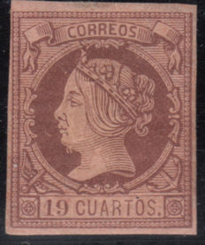 Spain, 1860/1861 – Isabel II – 19 quarters – Salmon chestnut. Graus certificate – Edifil No. 54