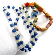 Viking Period  Necklace with Coloured Glass Beads - 590 mm