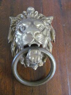 Large brass door knocker with lion's head - second half of  20th century - the Netherlands