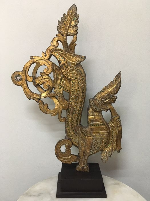 Large wooden gilt dragon wood carving (56 cm) - Burma - 19th century (Mandalay Period)